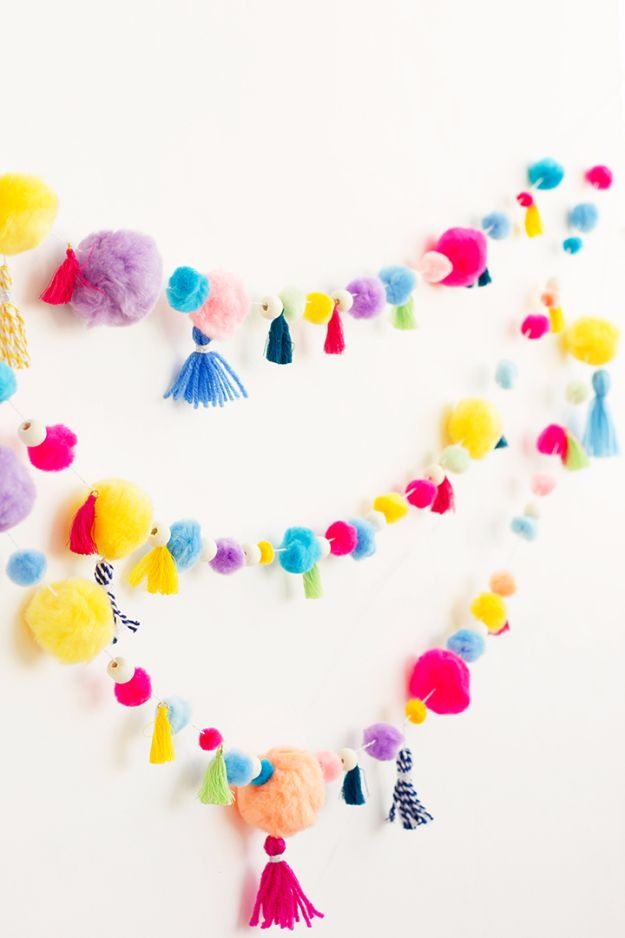DIY Backyard Party Decor - DIY Pom Pom Tassel Garland - Cool Ideas for Decorations for Parties - Easy and Cheap Crafts for Summer Barbecues and Family Get Togethers, Swimming and Pool Party Fun - Step by Step Tutorials For Banners, Table Decor, Serving Ideas and Mason Jar Crafts http://diyjoy.com/diy-backyard-party-decor