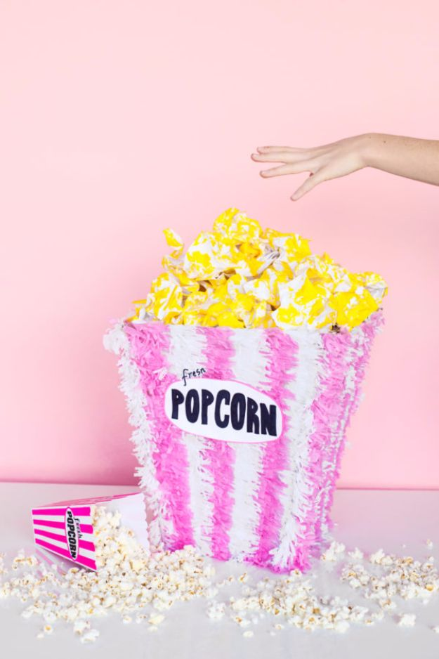 DIY Backyard Party Decor - DIY Popcorn Piñata - Cool Ideas for Decorations for Parties - Easy and Cheap Crafts for Summer Barbecues and Family Get Togethers, Swimming and Pool Party Fun - Step by Step Tutorials For Banners, Table Decor, Serving Ideas and Mason Jar Crafts http://diyjoy.com/diy-backyard-party-decor