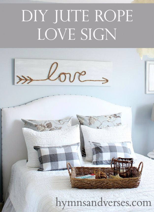 Best Country Decor Ideas - DIY Rope Love Sign - Rustic Farmhouse Decor Tutorials and Easy Vintage Shabby Chic Home Decor for Kitchen, Living Room and Bathroom - Creative Country Crafts, Rustic Wall Art and Accessories to Make and Sell http://diyjoy.com/country-decor-ideas