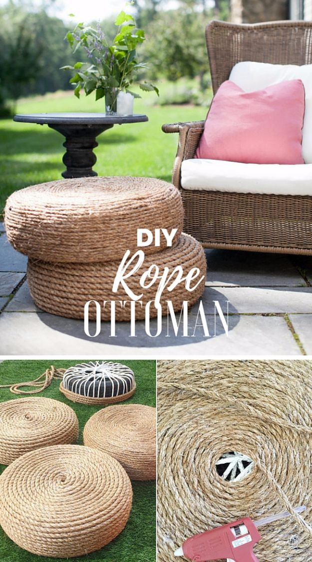 DIY Ideas With Old Tires - DIY Rope Ottomans - Rustic Farmhouse Decor Tutorials and Projects Made With An Old Tire - Easy Vintage Shelving, Wall Art, Swing, Ottoman, Seating, Furniture, Gardeing Ideas and Home Decor for Kitchen, Living Room, Bathroom and Backyard - Creative Country Crafts, Rustic Wall Art and Accessories to Make and Sell http://diyjoy.com/diy-projects-old-tires