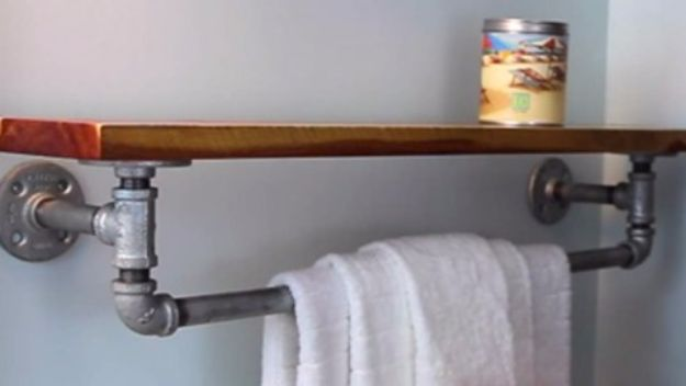 Best Country Decor Ideas - DIY Rustic Iron Towel Rack And Shelf - Rustic Farmhouse Decor Tutorials and Easy Vintage Shabby Chic Home Decor for Kitchen, Living Room and Bathroom - Creative Country Crafts, Rustic Wall Art and Accessories to Make and Sell http://diyjoy.com/country-decor-ideas