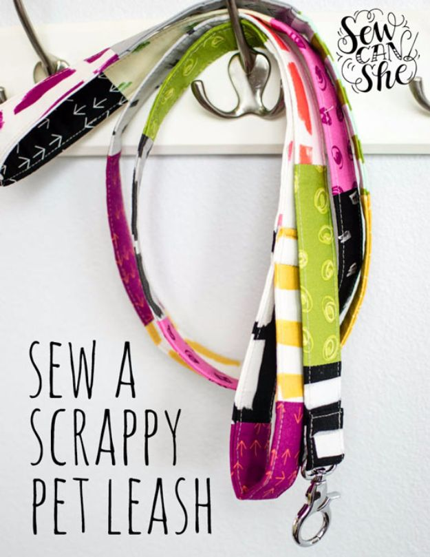 Best Quilting and Fabric Scraps Projects - DIY Scrappy Pet Leash - Easy Ideas for Making DIY Home Decor, Homemade Gifts, Wall Art , Kitchen Accessories, Clothes and Fashion from Leftover Fabric Scrap and Quilt Pieces - Cute Do It Yourself Ideas for Birthday, Christmas, Baby and Friends http://diyjoy.com/quilting-scraps-projects