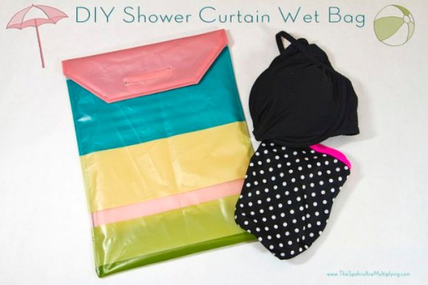 DIY Hacks for Summer - DIY Shower Curtain Wet Bag - Easy Projects to Try This Summer To Get Organized, Spend Time Outdoors, Play With The Kids, Stay Cool In The Heat - Tips and Tricks to Make Summertime Awesome - Crafts and Home Decor by DIY JOY