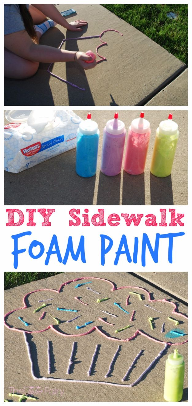 DIY Ideas for Kids To Make This Summer - DIY Sidewalk Foam Paint - Fun Crafts and Cool Projects for Boys and Girls To Make at Home - Easy and Cheap Do It Yourself Project Ideas With Paint, Glue, Paper, Glitter, Chalk and Things You Can Find Around The House - Creative Arts and Crafts Ideas for Children #summer #kidscrafts
