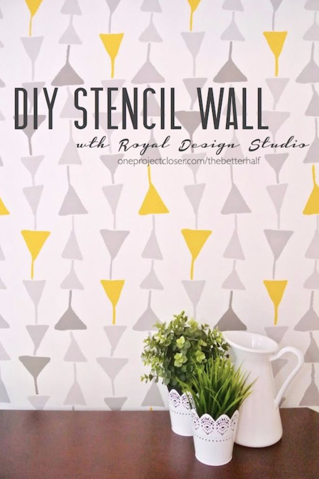 DIY Stencil Ideas - DIY Stencil Wall - Cool and Easy Stenciling Tutorials For Making Handmade Wallpaper and Designs, Furniture Makeover Ideas and Crafty Modern Decor With Stencils - Rustic Farmhouse Paint Techniques and Step by Step Instructions for Using Stencil Art in Your Living Room, Bedroom, Bathroom and Crafts http://diyjoy.com/diy-stencil-ideas-projects