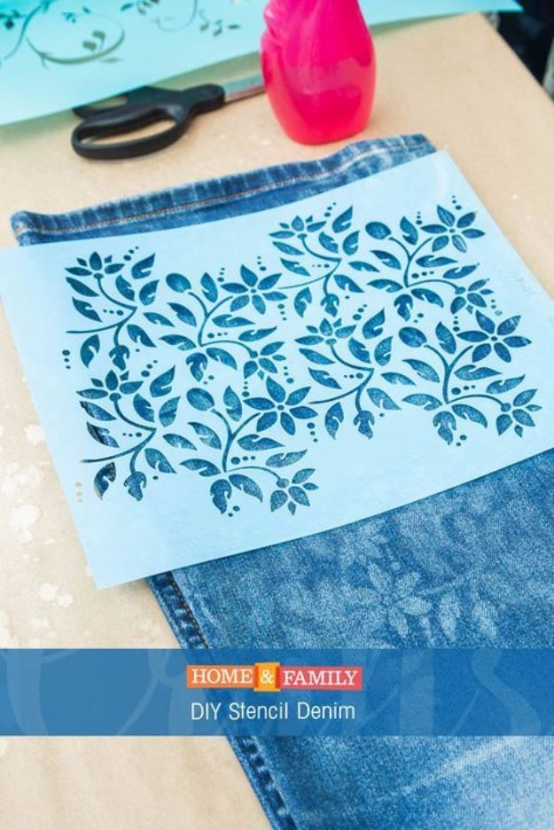 DIY Stencil Ideas - DIY Stenciled Jeans - Cool and Easy Stenciling Tutorials For Making Handmade Wallpaper and Designs, Furniture Makeover Ideas and Crafty Modern Decor With Stencils - Rustic Farmhouse Paint Techniques and Step by Step Instructions for Using Stencil Art in Your Living Room, Bedroom, Bathroom and Crafts http://diyjoy.com/diy-stencil-ideas-projects