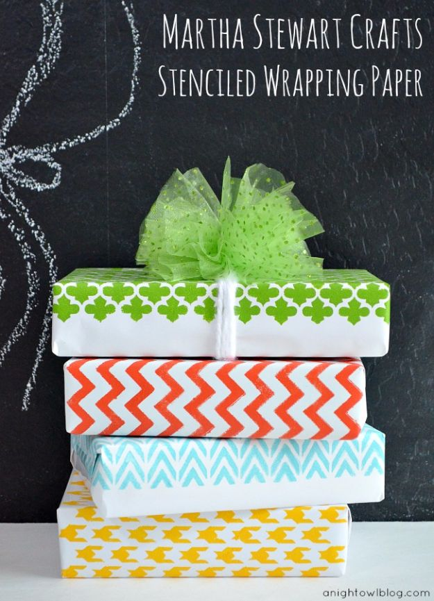 DIY Stencil Ideas - DIY Stenciled Wrapping Paper with Martha Stewart Crafts - Cool and Easy Stenciling Tutorials For Making Handmade Wallpaper and Designs, Furniture Makeover Ideas and Crafty Modern Decor With Stencils - Rustic Farmhouse Paint Techniques and Step by Step Instructions for Using Stencil Art in Your Living Room, Bedroom, Bathroom and Crafts http://diyjoy.com/diy-stencil-ideas-projects