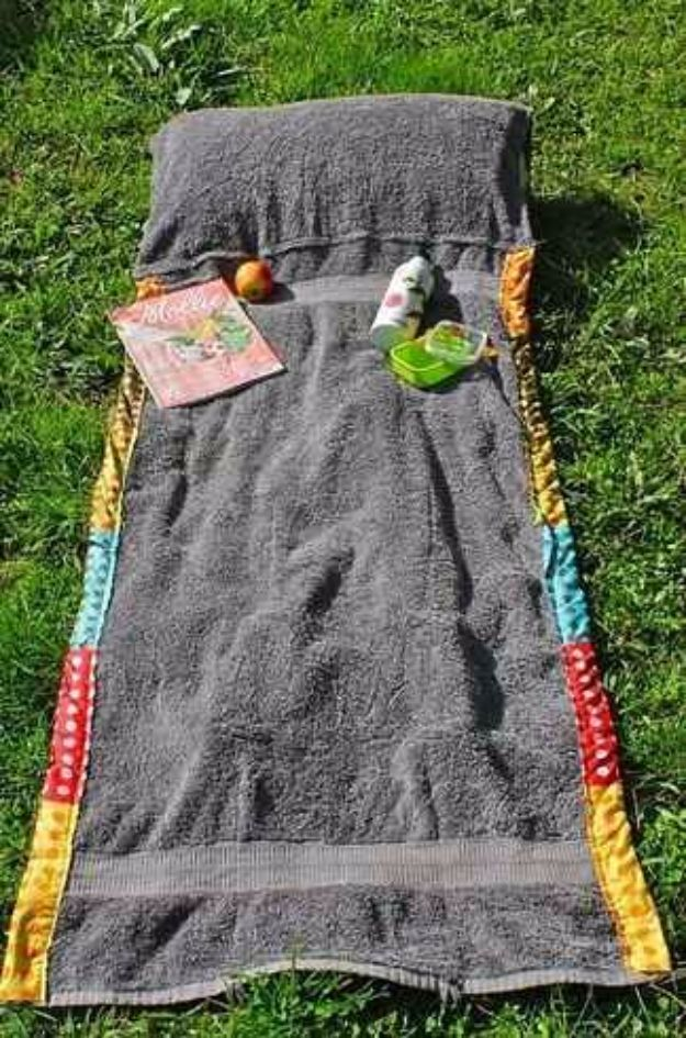 DIY Hacks for Summer - DIY Summer Bag Beach Towel Blanket - Easy Projects to Try This Summer To Get Organized, Spend Time Outdoors, Play With The Kids, Stay Cool In The Heat - Tips and Tricks to Make Summertime Awesome - Crafts and Home Decor by DIY JOY