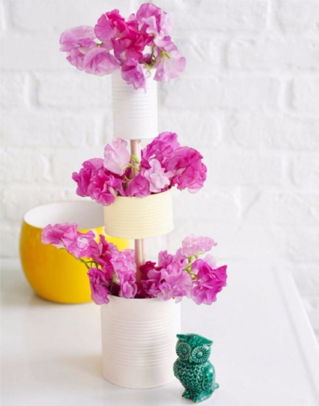 DIY Ideas With Old Tin Cans - DIY Tiered Vase Of Tin Cans - Rustic Farmhouse Decor Tutorials and Projects Made With An Old Tin Can - Easy Vintage Shelving, Wall Art, Picture Frames and Home Decor for Kitchen, Living Room and Bathroom - Creative Country Crafts, Craft Room Storage, Silverware Holder, Rustic Wall Art and Accessories to Make and Sell http://diyjoy.com/diy-projects-tin-cans