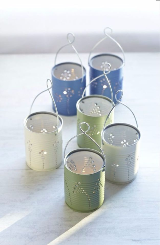 DIY Ideas With Old Tin Cans - DIY Tin Can Lanterns - Rustic Farmhouse Decor Tutorials and Projects Made With An Old Tin Can - Easy Vintage Shelving, Wall Art, Picture Frames and Home Decor for Kitchen, Living Room and Bathroom - Creative Country Crafts, Craft Room Storage, Silverware Holder, Rustic Wall Art and Accessories to Make and Sell
