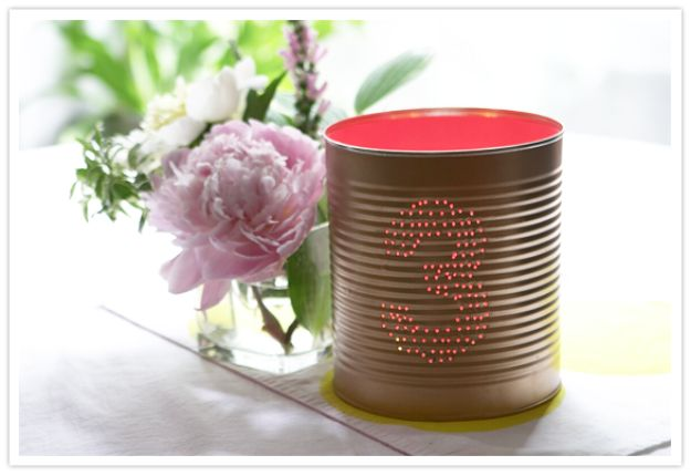 DIY Ideas With Old Tin Cans - DIY Tin Can Table Numbers - Rustic Farmhouse Decor Tutorials and Projects Made With An Old Tin Can - Easy Vintage Shelving, Wall Art, Picture Frames and Home Decor for Kitchen, Living Room and Bathroom - Creative Country Crafts, Craft Room Storage, Silverware Holder, Rustic Wall Art and Accessories to Make and Sell