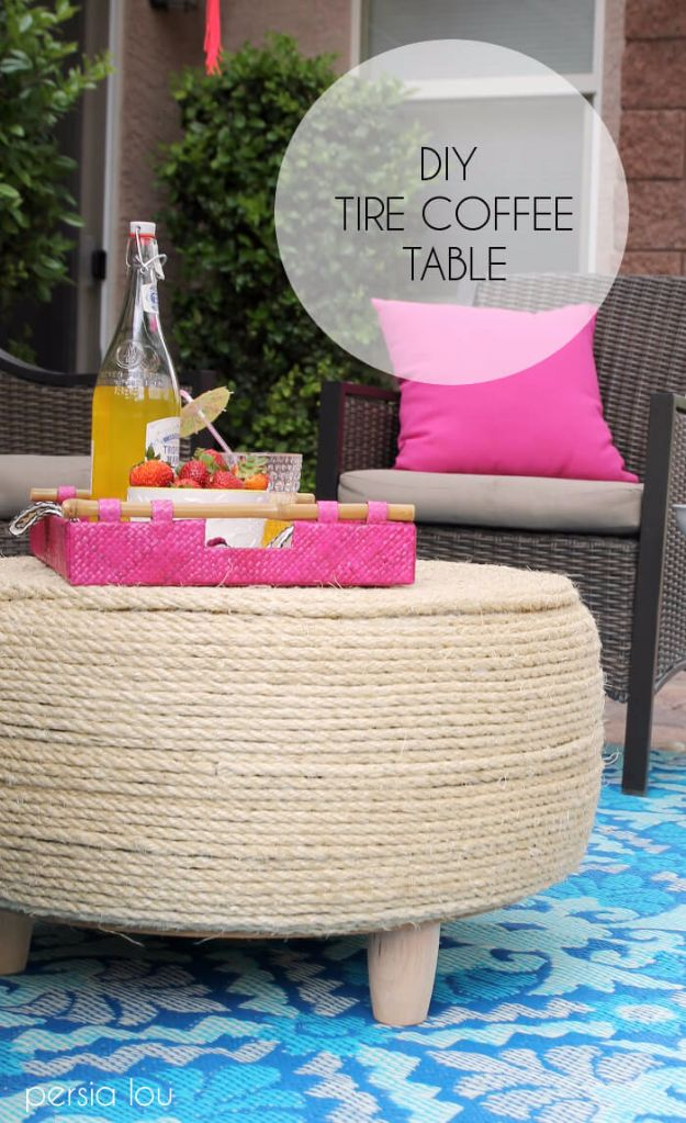 DIY Ideas With Old Tires - DIY Tire Coffee Table - Rustic Farmhouse Decor Tutorials and Projects Made With An Old Tire - Easy Vintage Shelving, Wall Art, Swing, Ottoman, Seating, Furniture, Gardeing Ideas and Home Decor for Kitchen, Living Room, Bathroom and Backyard - Creative Country Crafts, Rustic Wall Art and Accessories to Make and Sell