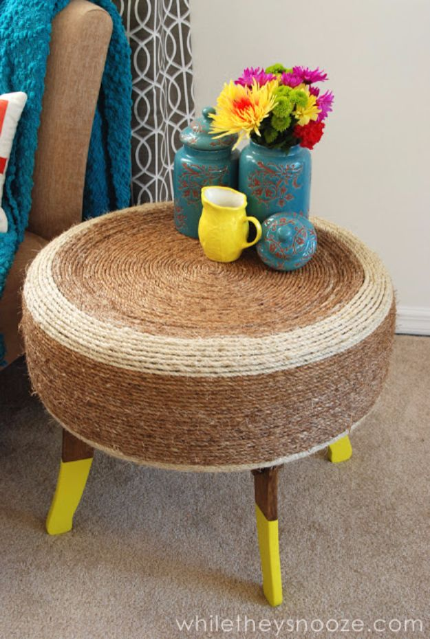 DIY Ideas With Old Tires - DIY Tire Table - Rustic Farmhouse Decor Tutorials and Projects Made With An Old Tire - Easy Vintage Shelving, Wall Art, Swing, Ottoman, Seating, Furniture, Gardeing Ideas and Home Decor for Kitchen, Living Room, Bathroom and Backyard - Creative Country Crafts, Rustic Wall Art and Accessories to Make and Sell