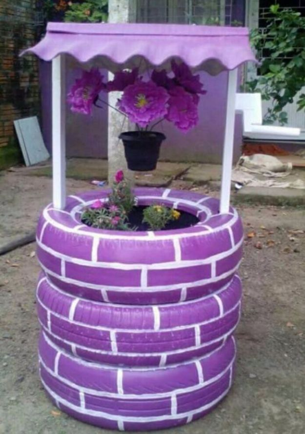 DIY Ideas With Old Tires - DIY Tire Wishing Well - Rustic Farmhouse Decor Tutorials and Projects Made With An Old Tire - Easy Vintage Shelving, Wall Art, Swing, Ottoman, Seating, Furniture, Gardeing Ideas and Home Decor for Kitchen, Living Room, Bathroom and Backyard - Creative Country Crafts, Rustic Wall Art and Accessories to Make and Sell
