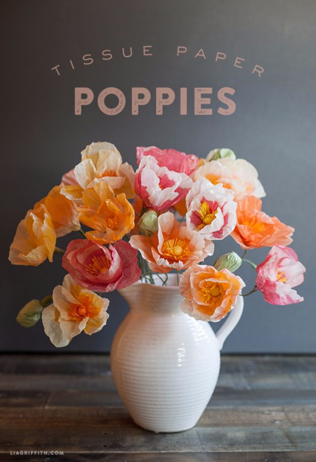 DIY Backyard Party Decor - DIY Tissue Paper Poppies - Cool Ideas for Decorations for Parties - Easy and Cheap Crafts for Summer Barbecues and Family Get Togethers, Swimming and Pool Party Fun - Step by Step Tutorials For Banners, Table Decor, Serving Ideas and Mason Jar Crafts r
