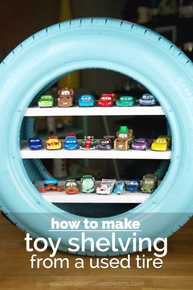 DIY Ideas With Old Tires - DIY Toy Shelves from a Used Tire - Rustic Farmhouse Decor Tutorials and Projects Made With An Old Tire - Easy Vintage Shelving, Wall Art, Swing, Ottoman, Seating, Furniture, Gardeing Ideas and Home Decor for Kitchen, Living Room, Bathroom and Backyard - Creative Country Crafts, Rustic Wall Art and Accessories to Make and Sell http://diyjoy.com/diy-projects-old-tires