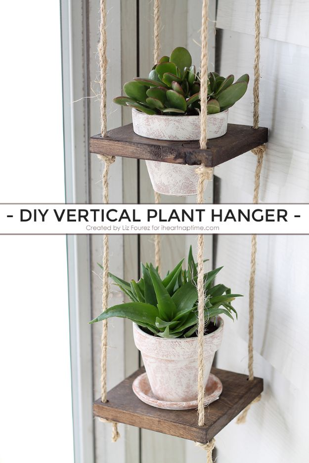Best Country Decor Ideas for Your Porch - DIY Vertical Plant Hanger - Rustic Farmhouse Decor Tutorials and Easy Vintage Shabby Chic Home Decor for Kitchen, Living Room and Bathroom - Creative Country Crafts, Furniture, Patio Decor and Rustic Wall Art and Accessories to Make and Sell http://diyjoy.com/country-decor-ideas-porchs