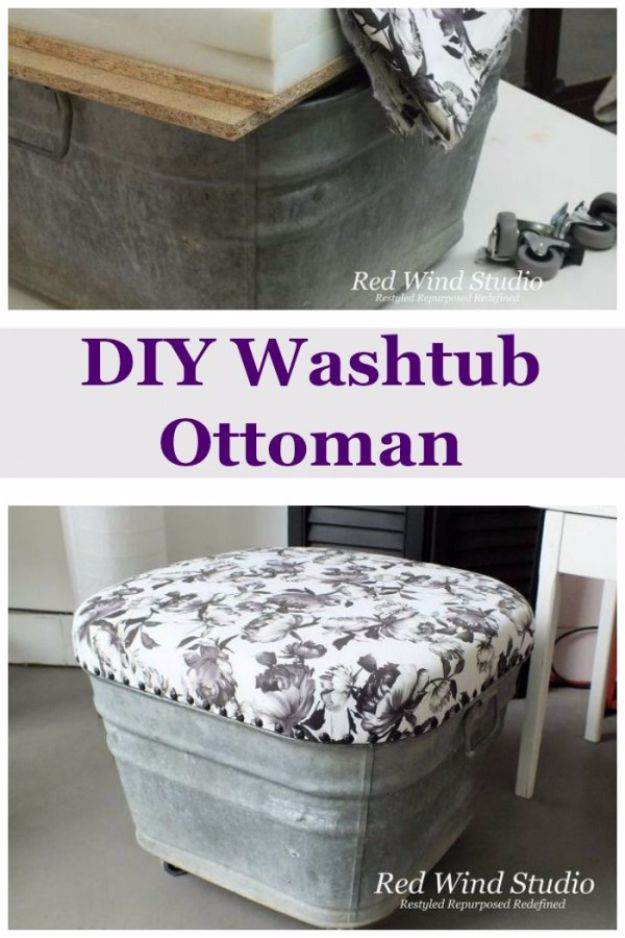 Best Country Decor Ideas for Your Porch - DIY Wash Tub Ottoman - Rustic Farmhouse Decor Tutorials and Easy Vintage Shabby Chic Home Decor for Kitchen, Living Room and Bathroom - Creative Country Crafts, Furniture, Patio Decor and Rustic Wall Art and Accessories to Make and Sell http://diyjoy.com/country-decor-ideas-porchs