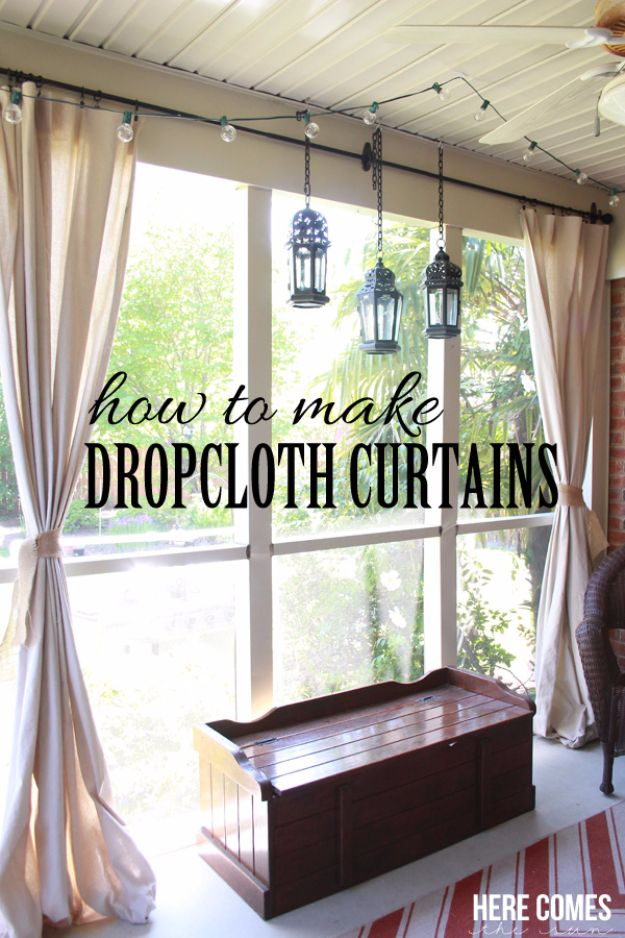 Best Country Decor Ideas for Your Porch - Drop Cloth Porch Curtains - Rustic Farmhouse Decor Tutorials and Easy Vintage Shabby Chic Home Decor for Kitchen, Living Room and Bathroom - Creative Country Crafts, Furniture, Patio Decor and Rustic Wall Art and Accessories to Make and Sell http://diyjoy.com/country-decor-ideas-porchs