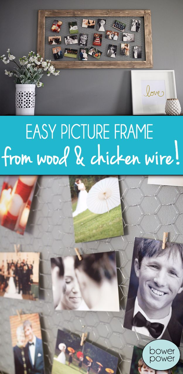 diy ideas chicken wire crafts -Easy Chicken Wire Photo Frame - Rustic Farmhouse Decor Tutorials With Chickenwire and Easy Vintage Shabby Chic Home Decor for Kitchen, Living Room and Bathroom - Creative Country Crafts #diy #crafts