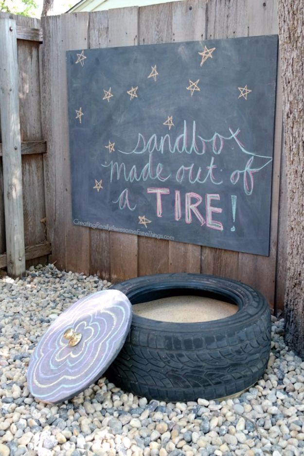 DIY Ideas With Old Tires - Easy DIY Tire Sandbox - Rustic Farmhouse Decor Tutorials and Projects Made With An Old Tire - Easy Vintage Shelving, Wall Art, Swing, Ottoman, Seating, Furniture, Gardeing Ideas and Home Decor for Kitchen, Living Room, Bathroom and Backyard - Creative Country Crafts, Rustic Wall Art and Accessories to Make and Sell