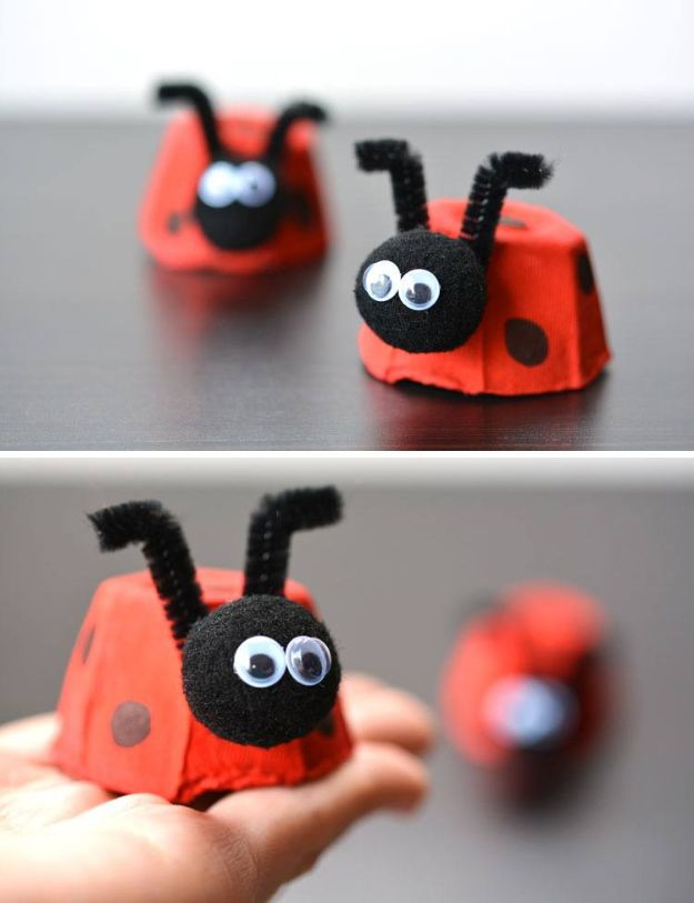 DIY Ideas for Kids To Make This Summer - Easy Egg Carton Ladybugs - Fun Crafts and Cool Projects for Boys and Girls To Make at Home - Easy and Cheap Do It Yourself Project Ideas With Paint, Glue, Paper, Glitter, Chalk and Things You Can Find Around The House - Creative Arts and Crafts Ideas for Children #summer #kidscrafts