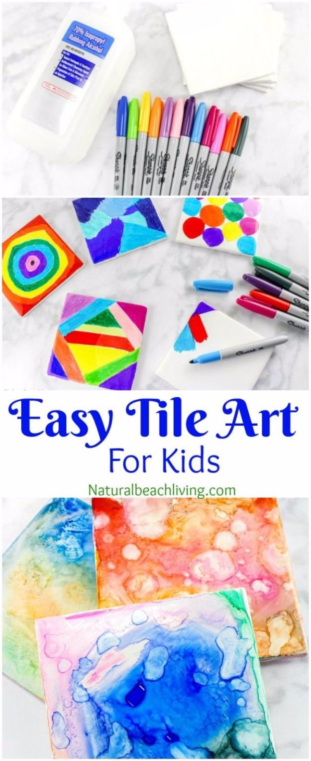DIY Ideas for Kids To Make This Summer - Easy Tile Art for Kids - Fun Crafts and Cool Projects for Boys and Girls To Make at Home - Easy and Cheap Do It Yourself Project Ideas With Paint, Glue, Paper, Glitter, Chalk and Things You Can Find Around The House - Creative Arts and Crafts Ideas for Children #summer #kidscrafts