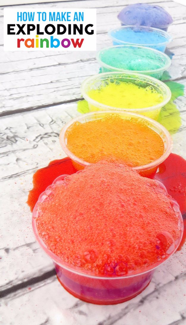 DIY Stem and Science Ideas for Kids and Teens - Exploding Rainbow - Fun and Easy Do It Yourself Projects and Crafts Using Math, Electronics, Engineering Concepts and Basic Building Skills - Creatve and Cool Project Tutorials For Kids To Make At Home This Summer - Boys, Girls and Teenagers Have Fun Making Room Decor, Experiments and Playtime STEM Fun #stem #diyideas #stemideas #kidscrafts
