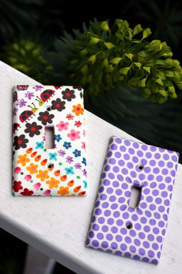 Best Quilting and Fabric Scraps Projects - Fabric Covered Switchplates - Easy Ideas for Making DIY Home Decor, Homemade Gifts, Wall Art , Kitchen Accessories, Clothes and Fashion from Leftover Fabric Scrap and Quilt Pieces - Cute Do It Yourself Ideas for Birthday, Christmas, Baby and Friends http://diyjoy.com/quilting-scraps-projects