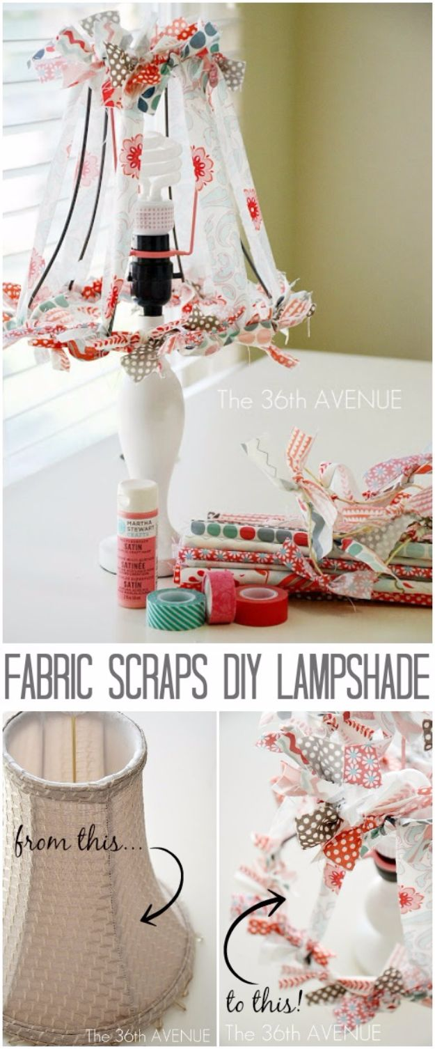 Best Quilting and Fabric Scraps Projects - Fabric Scraps DIY Lampshade - Easy Ideas for Making DIY Home Decor, Homemade Gifts, Wall Art , Kitchen Accessories, Clothes and Fashion from Leftover Fabric Scrap and Quilt Pieces - Cute Do It Yourself Ideas for Birthday, Christmas, Baby and Friends http://diyjoy.com/quilting-scraps-projects