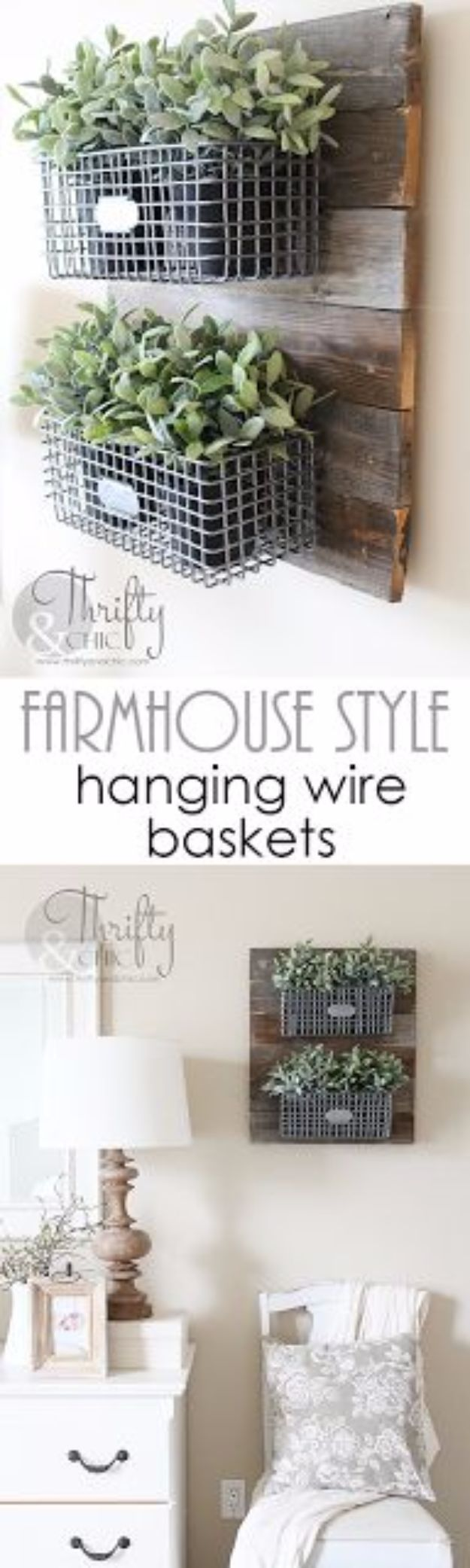 Best Country Decor Ideas - Farmhouse Style Hanging Wire Baskets - Rustic Farmhouse Decor Tutorials and Easy Vintage Shabby Chic Home Decor for Kitchen, Living Room and Bathroom - Creative Country Crafts, Rustic Wall Art and Accessories to Make and Sell