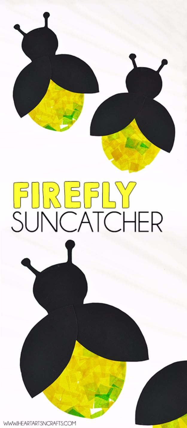 DIY Ideas for Kids To Make This Summer - Firefly Suncatcher - Fun Crafts and Cool Projects for Boys and Girls To Make at Home - Easy and Cheap Do It Yourself Project Ideas With Paint, Glue, Paper, Glitter, Chalk and Things You Can Find Around The House - Creative Arts and Crafts Ideas for Children #summer #kidscrafts