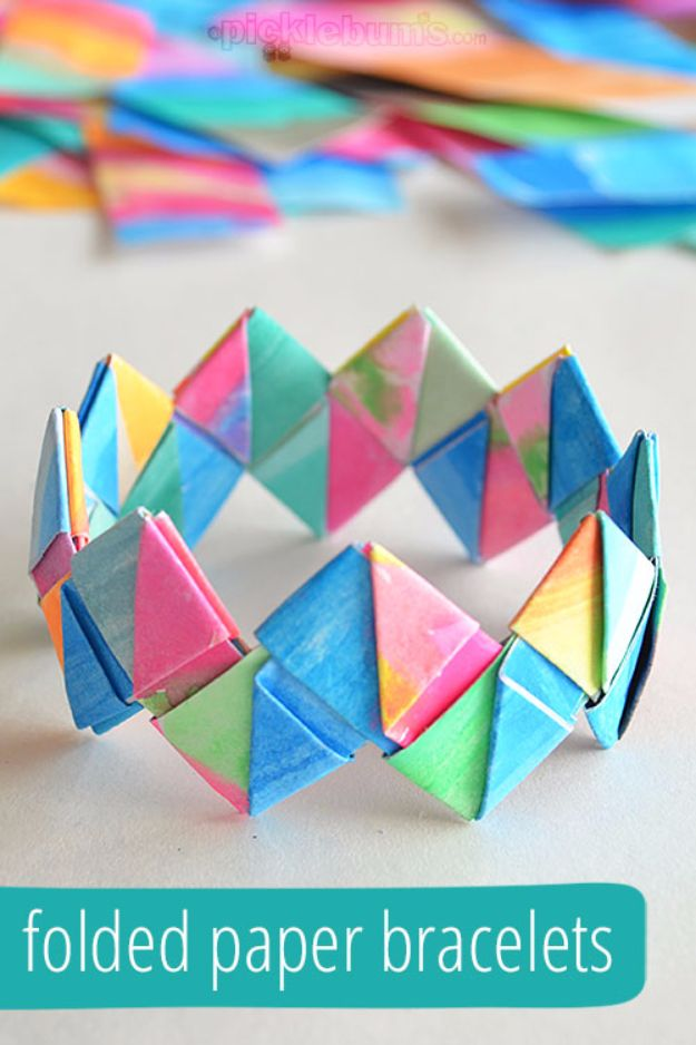 DIY Ideas for Kids To Make This Summer - Folded Paper Bracelets - Fun Crafts and Cool Projects for Boys and Girls To Make at Home - Easy and Cheap Do It Yourself Project Ideas With Paint, Glue, Paper, Glitter, Chalk and Things You Can Find Around The House - Creative Arts and Crafts Ideas for Children #summer #kidscrafts