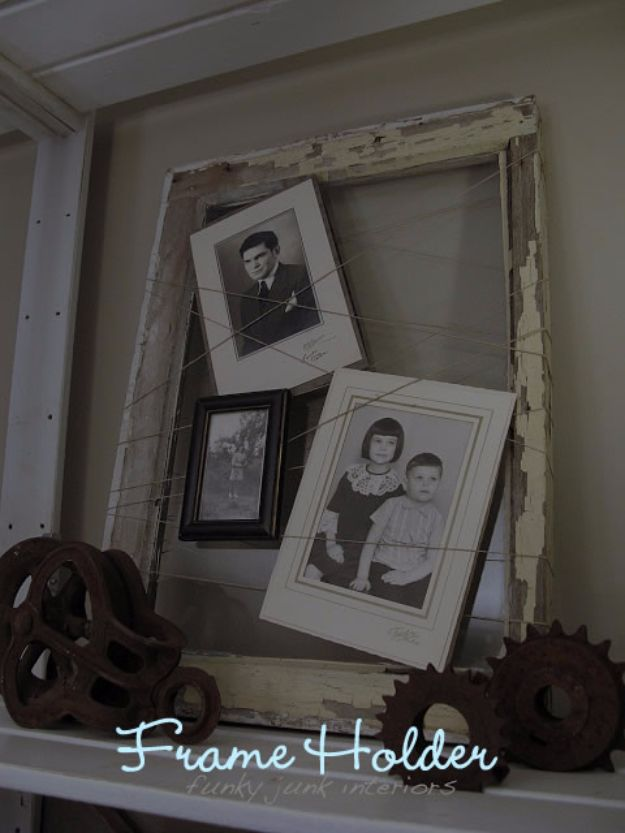 DIY Ideas With Old Windows - Frame Holder - Rustic Farmhouse Decor Tutorials and Projects Made With An Old Window - Easy Vintage Shelving, Coffee Table, Towel Hook, Wall Art, Picture Frames and Home Decor for Kitchen, Living Room and Bathroom - Creative Country Crafts, Seating, Furniture, Patio Decor and Rustic Wall Art and Accessories to Make and Sell http://diyjoy.com/diy-projects-old-windows