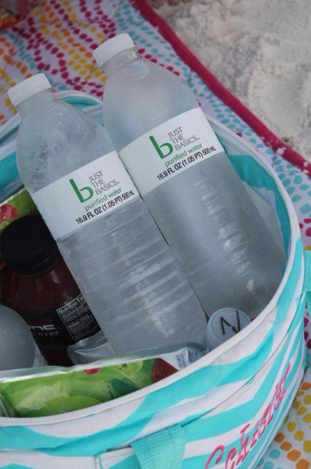 DIY Hacks for Summer - Freeze Your Water Bottles - Easy Projects to Try This Summer To Get Organized, Spend Time Outdoors, Play With The Kids, Stay Cool In The Heat - Tips and Tricks to Make Summertime Awesome - Crafts and Home Decor by DIY JOY