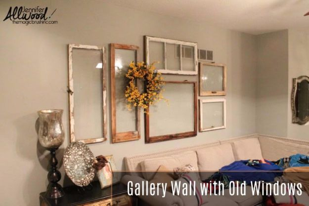 DIY Ideas With Old Windows - Gallery Wall With Old Windows - Rustic Farmhouse Decor Tutorials and Projects Made With An Old Window - Easy Vintage Shelving, Coffee Table, Towel Hook, Wall Art, Picture Frames and Home Decor for Kitchen, Living Room and Bathroom - Creative Country Crafts, Seating, Furniture, Patio Decor and Rustic Wall Art and Accessories to Make and Sell http://diyjoy.com/diy-projects-old-windows