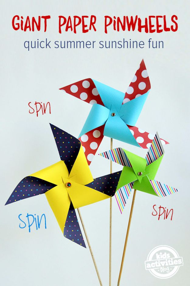 DIY Ideas for Kids To Make This Summer - Giant Paper Pinwheels - Fun Crafts and Cool Projects for Boys and Girls To Make at Home - Easy and Cheap Do It Yourself Project Ideas With Paint, Glue, Paper, Glitter, Chalk and Things You Can Find Around The House - Creative Arts and Crafts Ideas for Children #summer #kidscrafts