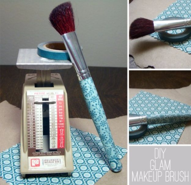 Best Quilting and Fabric Scraps Projects - Glam Makeup Brush - Easy Ideas for Making DIY Home Decor, Homemade Gifts, Wall Art , Kitchen Accessories, Clothes and Fashion from Leftover Fabric Scrap and Quilt Pieces - Cute Do It Yourself Ideas for Birthday, Christmas, Baby and Friends http://diyjoy.com/quilting-scraps-projects
