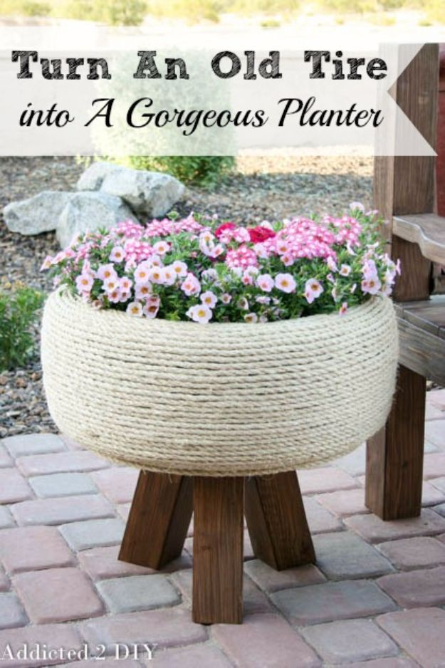 DIY Ideas With Old Tires - Gorgeous Tire Planter - Rustic Farmhouse Decor Tutorials and Projects Made With An Old Tire - Easy Vintage Shelving, Wall Art, Swing, Ottoman, Seating, Furniture, Gardeing Ideas and Home Decor for Kitchen, Living Room, Bathroom and Backyard - Creative Country Crafts, Rustic Wall Art and Accessories to Make and Sell http://diyjoy.com/diy-projects-old-tires