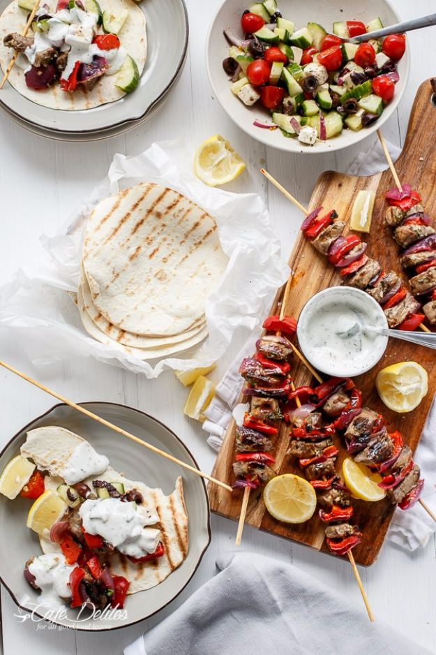 Best Recipe Ideas for Summer - Greek Lamb Souvlaki With Garlic Yogurt Dip - Cool Salads, Easy Side Dishes, Recipes for Summer Foods and Dinner to Beat the Heat - Light and Healthy Ideas for Hot Summer Nights, Pool Parties and Picnics http://diyjoy.com/best-recipes-summer