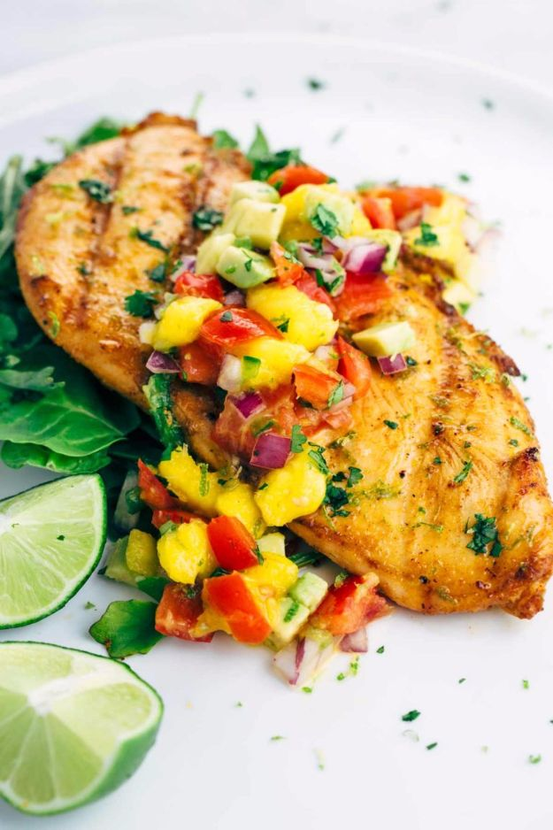 Best Recipe Ideas for Summer - Grilled Tequila Lime Chicken With Mango Salsa - Cool Salads, Easy Side Dishes, Recipes for Summer Foods and Dinner to Beat the Heat - Light and Healthy Ideas for Hot Summer Nights, Pool Parties and Picnics http://diyjoy.com/best-recipes-summer