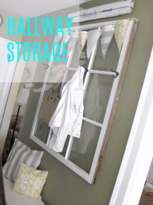 DIY Ideas With Old Windows - Hallway Storage - Rustic Farmhouse Decor Tutorials and Projects Made With An Old Window - Easy Vintage Shelving, Coffee Table, Towel Hook, Wall Art, Picture Frames and Home Decor for Kitchen, Living Room and Bathroom - Creative Country Crafts, Seating, Furniture, Patio Decor and Rustic Wall Art and Accessories to Make and Sell http://diyjoy.com/diy-projects-old-windows