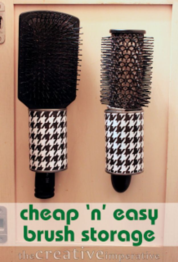 DIY Ideas With Old Tin Cans - Hanging Hairbrush Storage from Tin Cans - Rustic Farmhouse Decor Tutorials and Projects Made With An Old Tin Can - Easy Vintage Shelving, Wall Art, Picture Frames and Home Decor for Kitchen, Living Room and Bathroom - Creative Country Crafts, Craft Room Storage, Silverware Holder, Rustic Wall Art and Accessories to Make and Sell http://diyjoy.com/diy-projects-tin-cans