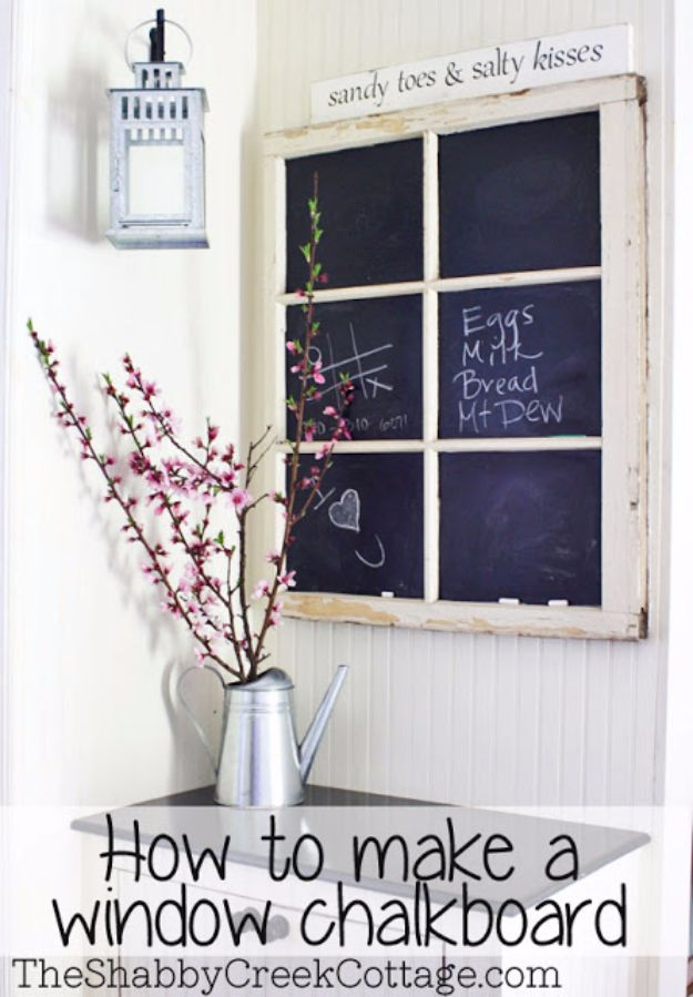 DIY Ideas With Old Windows - Window Chalkboard - Rustic Farmhouse Decor Tutorials and Projects Made With An Old Window - Easy Vintage Shelving, Coffee Table, Towel Hook, Wall Art, Picture Frames and Home Decor for Kitchen, Living Room and Bathroom - Creative Country Crafts, Seating, Furniture, Patio Decor and Rustic Wall Art and Accessories to Make and Sell http://diyjoy.com/diy-projects-old-windows