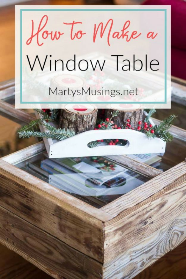 DIY Ideas With Old Windows - Old Window Table - Rustic Farmhouse Decor Tutorials and Projects Made With An Old Window - Easy Vintage Shelving, Coffee Table, Towel Hook, Wall Art, Picture Frames and Home Decor for Kitchen, Living Room and Bathroom - Creative Country Crafts, Seating, Furniture, Patio Decor and Rustic Wall Art and Accessories to Make and Sell http://diyjoy.com/diy-projects-old-windows