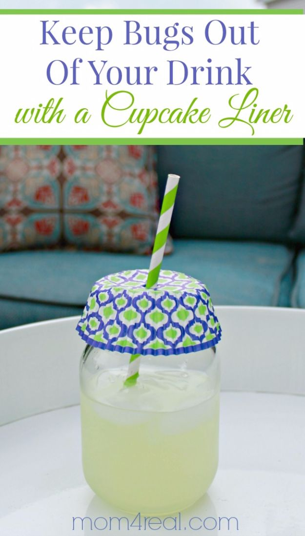 DIY Hacks for Summer - Keep Bugs Out Of Your Drink - Easy Projects to Try This Summer To Get Organized, Spend Time Outdoors, Play With The Kids, Stay Cool In The Heat - Tips and Tricks to Make Summertime Awesome - Crafts and Home Decor by DIY JOY