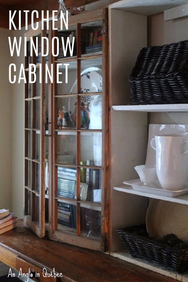 DIY Ideas With Old Windows - Kitchen Window Cabinet - Rustic Farmhouse Decor Tutorials and Projects Made With An Old Window - Easy Vintage Shelving, Coffee Table, Towel Hook, Wall Art, Picture Frames and Home Decor for Kitchen, Living Room and Bathroom - Creative Country Crafts, Seating, Furniture, Patio Decor and Rustic Wall Art and Accessories to Make and Sell http://diyjoy.com/diy-projects-old-windows