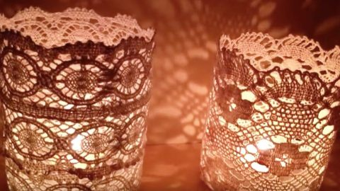 She's Inspired By All The Doily DIY's And Creates These Beautiful Doily Lanterns — Watch How! | DIY Joy Projects and Crafts Ideas