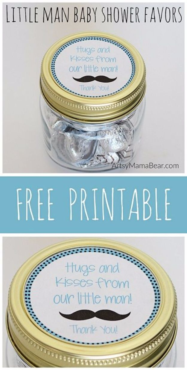 Free Printables for Mason Jars - Little Man Baby Shower Favors Printables - Best Ideas for Tags and Printable Clip Art for Fun Mason Jar Gifts and Organization#masonjar #crafts #printables