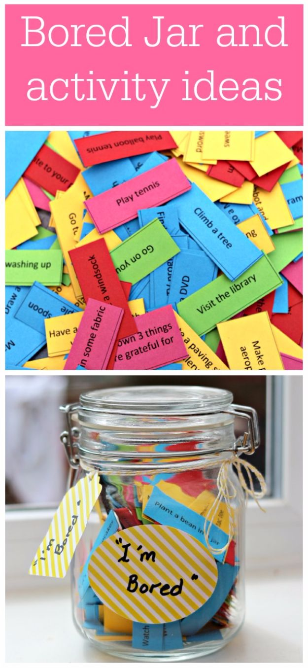 DIY Hacks for Summer - Make A Bored Jar - Easy Projects to Try This Summer To Get Organized, Spend Time Outdoors, Play With The Kids, Stay Cool In The Heat - Tips and Tricks to Make Summertime Awesome - Crafts and Home Decor by DIY JOY http://diyjoy.com/diy-hacks-summer